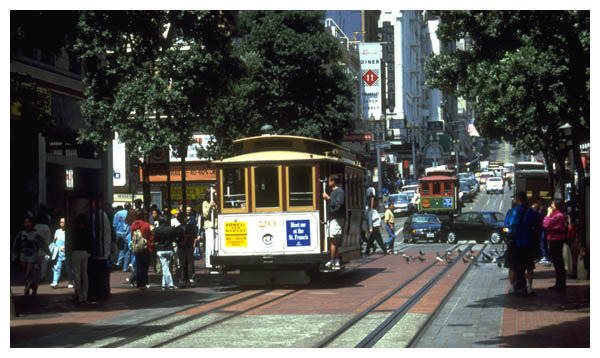 Cable Car: Sep 3rd, 1999: Cable car on Powell Street between Market and Ellis. (001)