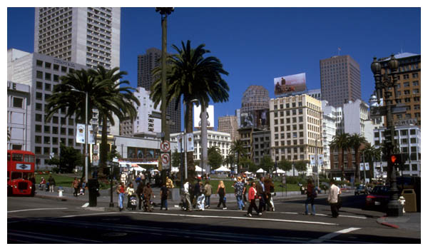 Union Square: Sep 3rd, 1999: Union Square as seen from the corner of Powell Street and Geary Street. (003)